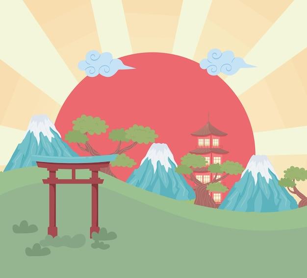 Япония пейзажный пейзаж
