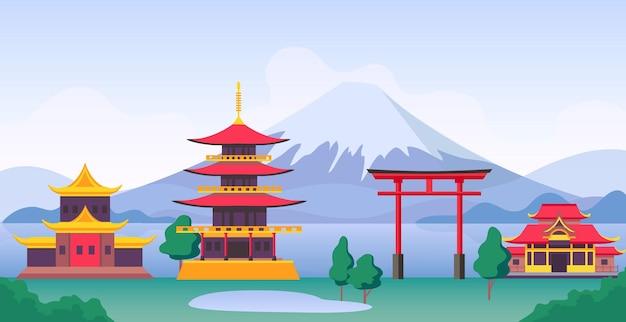 富士山、ランドマーク、寺院、古い建物のある日本の風景。塔と門のベクトルシーンと日本の観光旅行風景