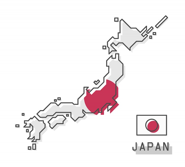 Japan map and flag