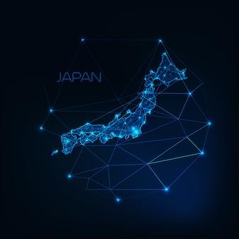 日本地図輝くシルエットアウトラインの星