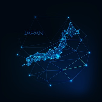 Japan map glowing silhouette outline made of stars