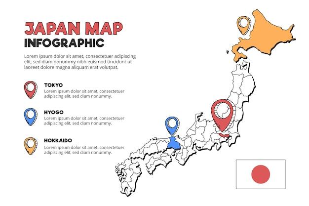 日本の地図のインフォグラフィック