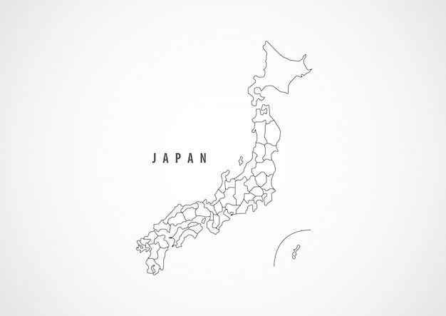 Japan map outline on white background.