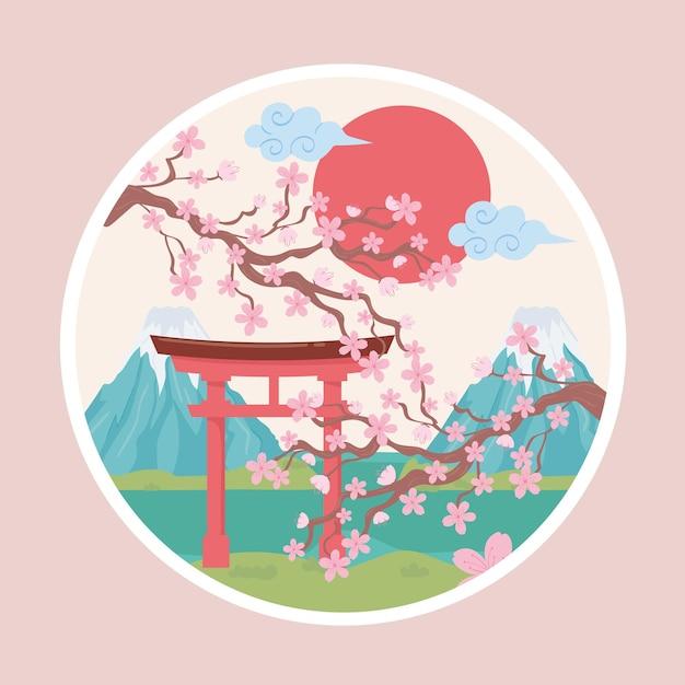 Япония гора и дерево