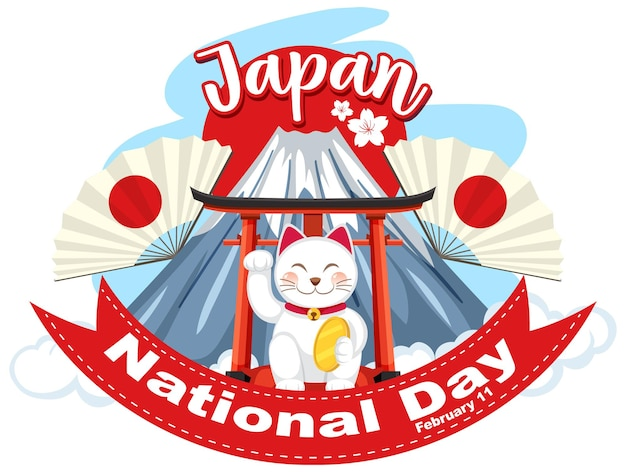 Открытка на национальный день японии с японской кошкой на горе фудзи