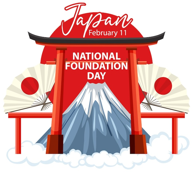 Баннер дня национального фонда японии с воротами тории и горой фудзи
