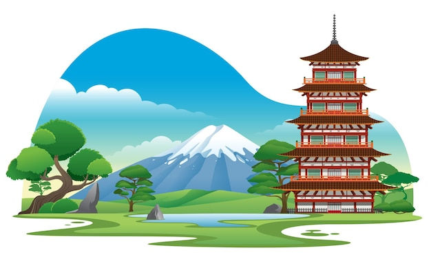 Японская пагода с красивым фоном