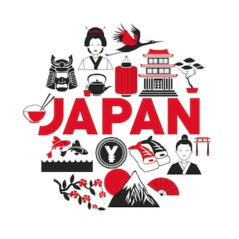 Коллекция иконок для японских туристов