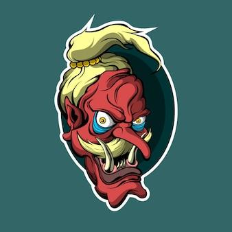 파랑에 일본 붉은 악마 스티커