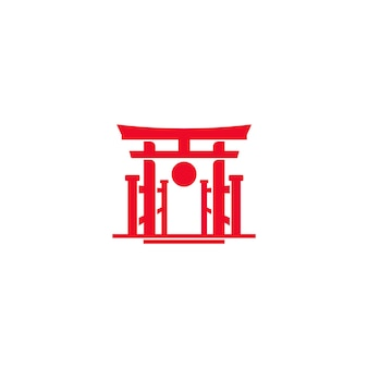 Japan red torii gate with sun logo