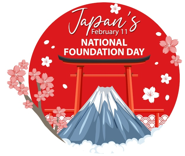 Striscione per la giornata nazionale della fondazione del giappone con il monte fuji e la porta torii
