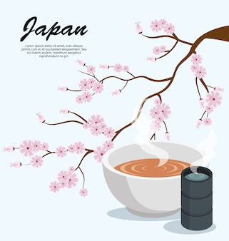 Japan sakura tree soup and tea