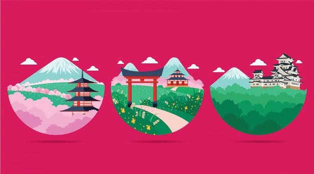 Иллюстрация пейзажа японии