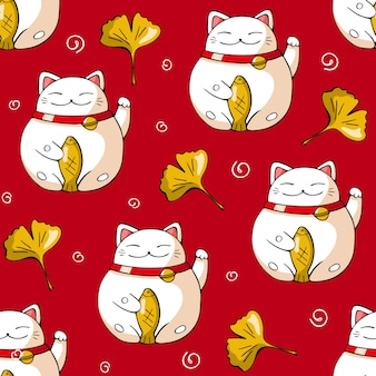 Japan seamless pattern on red background