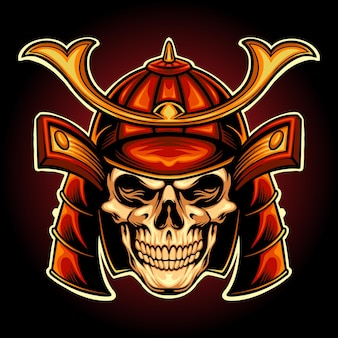 Japan skull samurai warrior vector illustrations for your work logo, mascot merchandise t-shirt, stickers and label designs, poster, greeting cards advertising business company or brands.