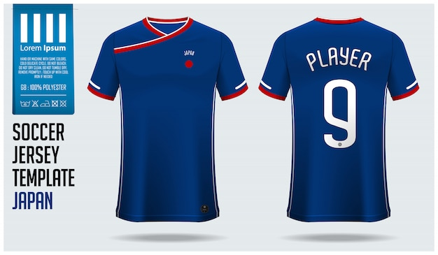Japan soccer jersey mockup or football kit template.