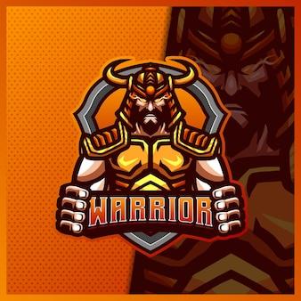 Шаблон дизайна логотипа киберспорта талисмана японского спартанского гладиатора-воина, логотип римского рыцаря