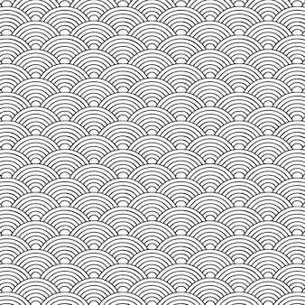 일본 스타일 원활한 패턴 팬 라운드