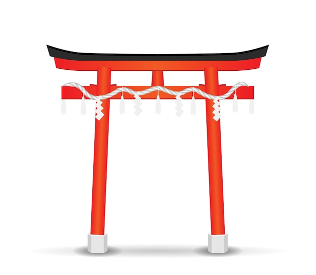 Japan style temple gate on a white background
