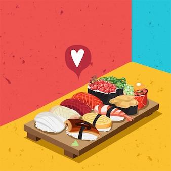 日本の寿司バー料理サーモン刺身料理