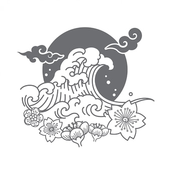 Japan symbolic logo design vector illustrate.