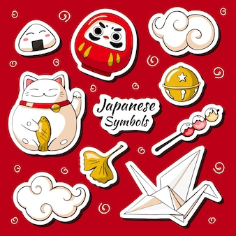 Japan symbols sticker set