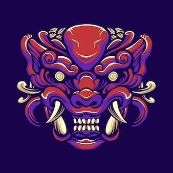일본 호랑이 괴물 일러스트 디자인