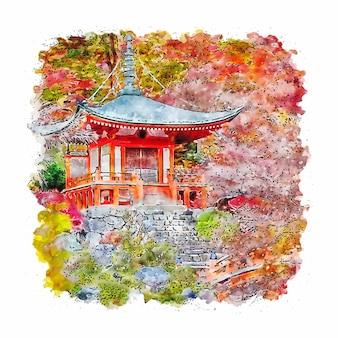 Япония токийский замок осенний акварельный эскиз рисованной иллюстрации