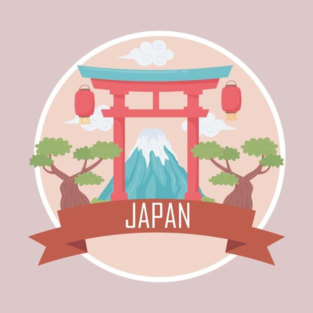日本の鳥居と山