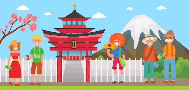 Япония туризм и путешествия иллюстрации. различные счастливые туристы приезжают в японию рядом с достопримечательностями и символами. гора фудзияма, сакура, пагода.