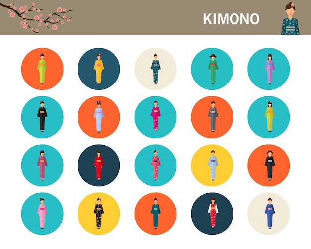 Japan traditional costume in kimono concept flat icons.