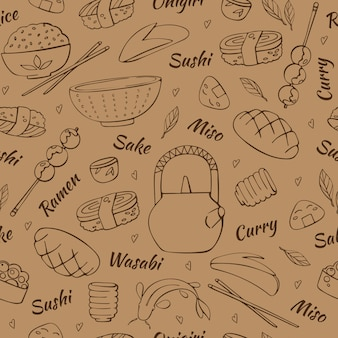 Japan traditional food hand drawn set