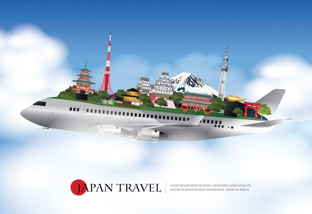 Japan travel and attractions with landmark vector illustration