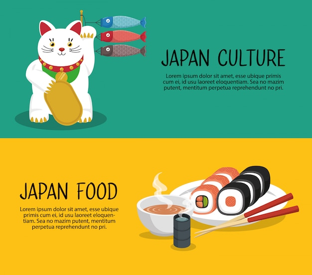 Japan travel banner culture food graphic