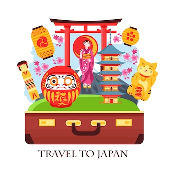 Japan travel concept colorful composition with antique suitcase gate geisha pagoda lanterns maneki neko cat