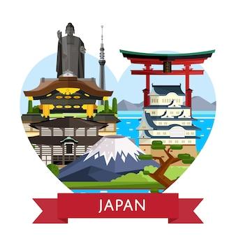 Концепция путешествия в японию с известными достопримечательностями