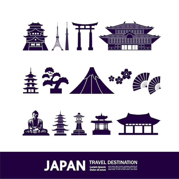 日本旅行先イラスト