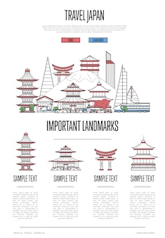 Japan travel infographics in linear style