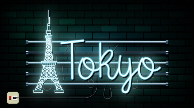 Japan travel and journey neon light background