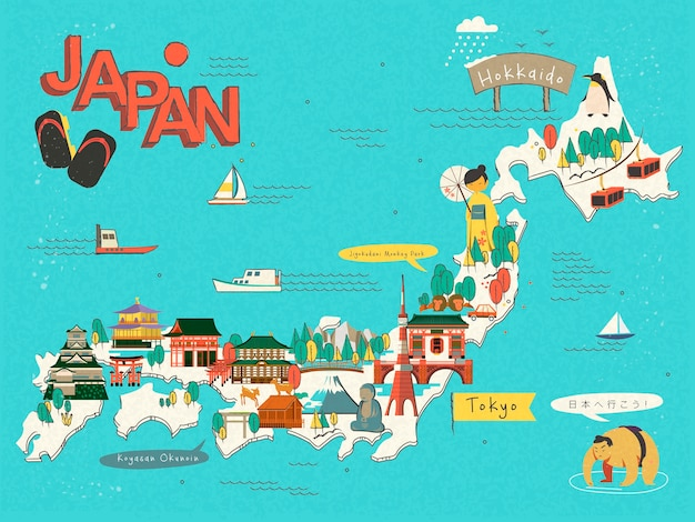 Japan travel map design - let's go to japan in japanese said by the man