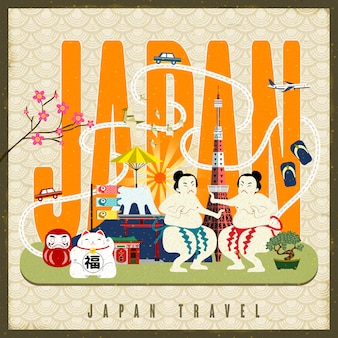 Japan travel poster with famous culture symbols