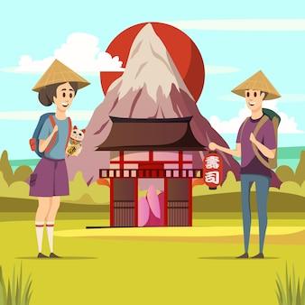 日本旅行観光背景ポスター