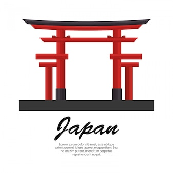 Japan travel torii gate icon