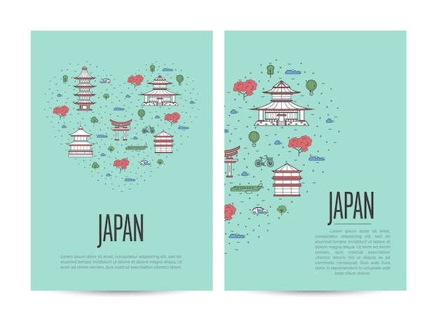 Japan travel tour booklet set in linear style