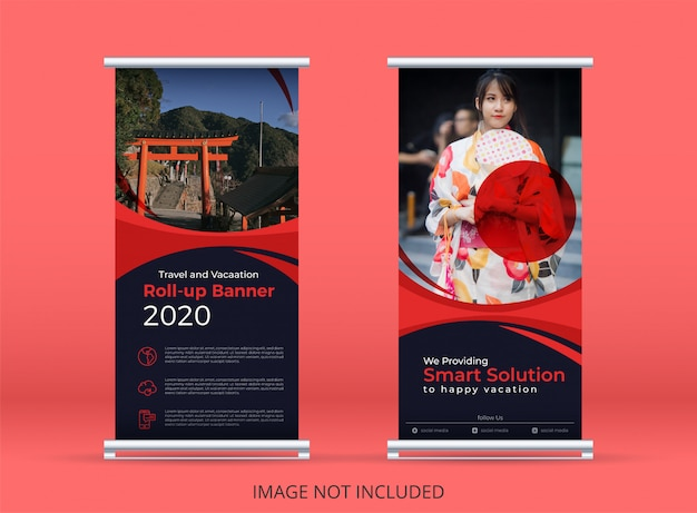 Japan travel and vacation concept vertical banner or roll up banner template with red wave motifs.