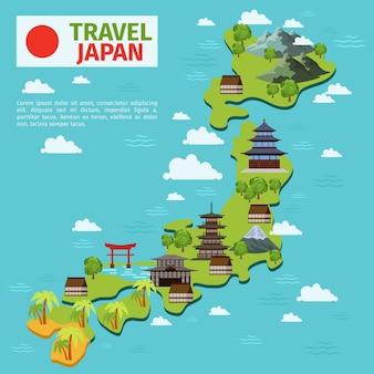 일본은 전통적인 일본 명소와 벡터지도를 여행합니다. 일본지도, 일본 문화, 일본 건축 일러스트