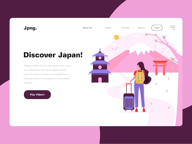 Japan travel website flat illustration