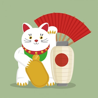 Japan travel with symbol lucky cat fan