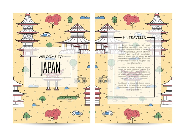 Japan traveling banners set in linear style