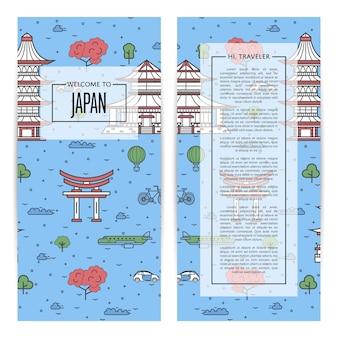 Japan traveling flyers set in linear style